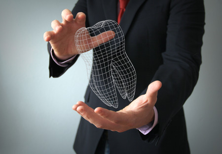 molares: dental concepto de diseño de implantes: hilo dental 3d en un hombre de negocios manos