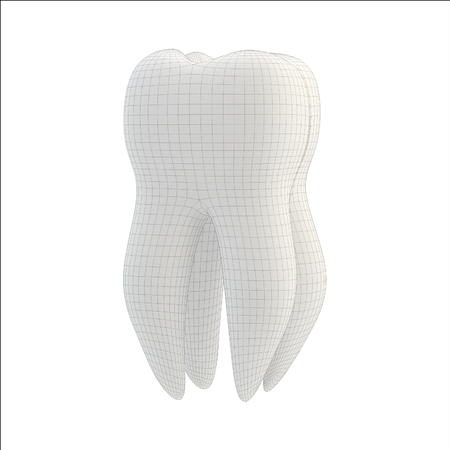 facets: tooth technology concept: tooth with technical 3d lines isolated Stock Photo