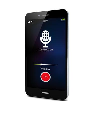 flauta dulce: concepto de espía: aplicación de grabación de sonido en un smartphone