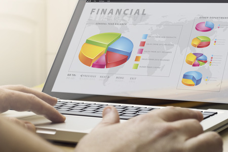 telecommuting: telecommuting work concept: man using la`ptop with financial software on the screen Stock Photo