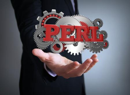 perl: perl coding businessman Stock Photo