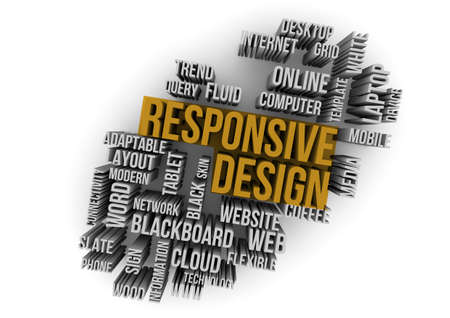 adaptable: responsive design on a cloud words Stock Photo