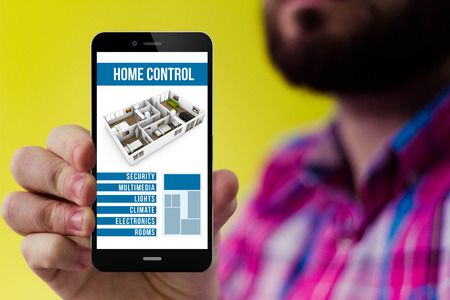 checked shirt: house automation concept: Hipster with beard and checked shirt showing smart home remote control on the screen Stock Photo
