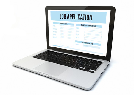 the applicant: render of a computer with job application on the screen Stock Photo