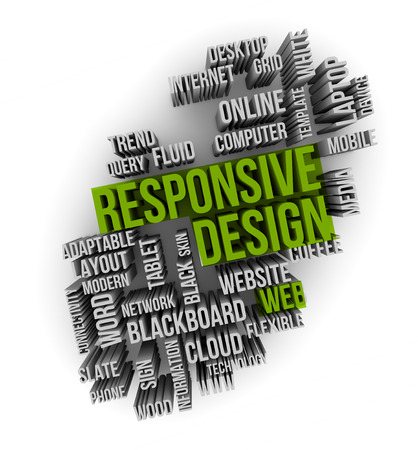 adaptable: responsive web design on a cloud words Stock Photo