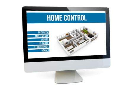 home products: home control online concept: render of a computer with house automation software on the screen