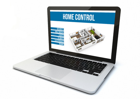 remote communication: render of a computer with home automation software on the screen Stock Photo