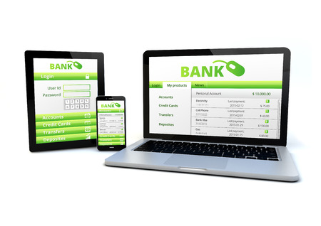 online transaction: render of an smartphone, a tablet pc and a computer with a banking software on the screen