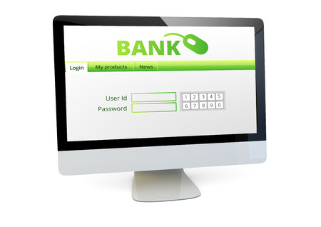 loging: loging concept: render of a computer bank application form on the screen Stock Photo