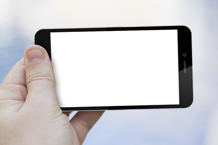 blank screen: communications concept: hand holding a blank screen 3d generated smartphone Stock Photo