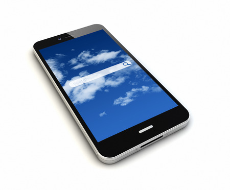 render of an original smartphone with online search application on the screen Stock Photo