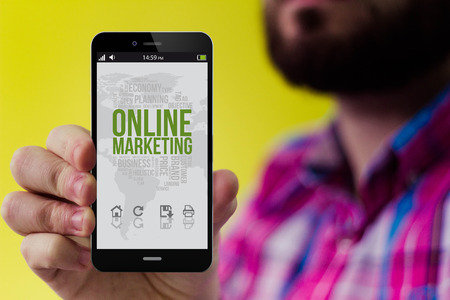 checked shirt: online marketing concept: Hipster with beard and checked shirt holding a 3d generated smartphone with online marketing on the screen. Screen graphics are made up Stock Photo