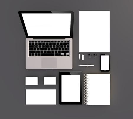 office supplies: Empty 3d generated set: sheet A4, envelope, business card, folder, smartphone, pencil, laptop, computer, usb flash disk, cd case, tablet pc,