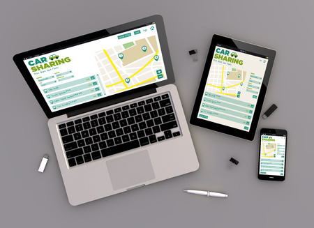zenith: 3d render of car sharing responsive devices with laptop computer, tablet pc and touchscreen smartphone. Zenith view. All screen graphics are made up.