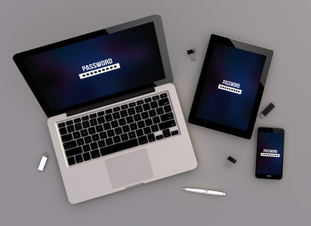 password: 3d render of security concept devices with laptop computer, tablet pc and touchscreen smartphone. top view. All screen graphics are made up. Stock Photo