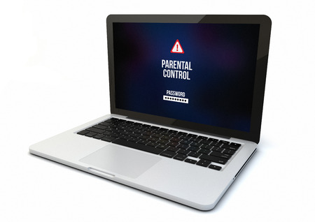censure: render of a 3d generated computer with parental control on the screen. Screen graphics are made up. Stock Photo