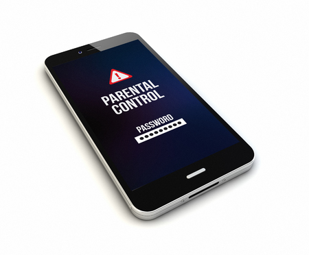 parental control: render of an original smartphone with parental control on the screen. Screen graphics are made up. Stock Photo
