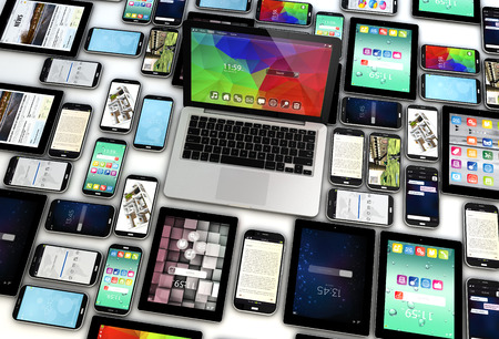 3d render of group of 3d generated mobile devices. All screen graphics are made up.