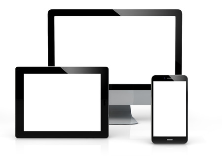 apple: Mock-up devices 3d generated with blank screen isolated on white background