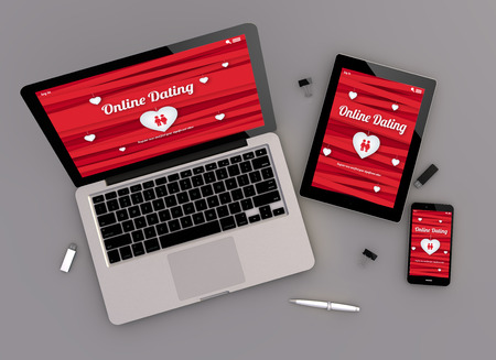 zenith: 3d render of online dating responsive devices with laptop computer, tablet pc and touchscreen smartphone. Zenith view. All screen graphics are made up. Stock Photo