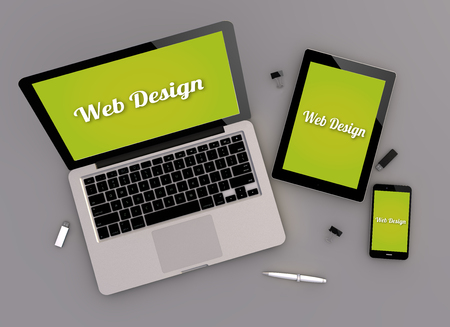 computer devices: 3d render of web designresponsive devices with laptop computer, tablet pc and touchscreen smartphone. Zenith view. All screen graphics are made up. Stock Photo