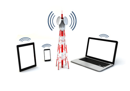 antenna: communicaciones and mobility concept: isolated render of antenna and mobile devices