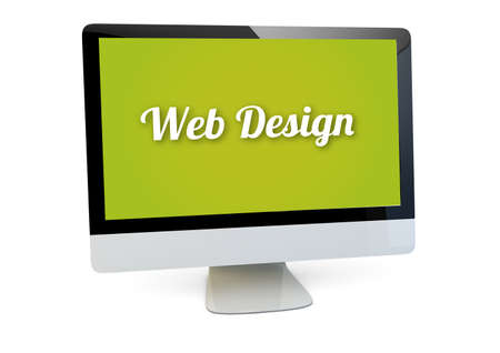 interface scheme: modern web design concept: render of a computer with web design on the screen isolated