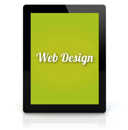 web screen: design concept: render of a tablet pc with web design on the screen. Screen graphics are made up. Stock Photo