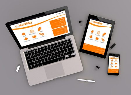 3d render of e-learning platform responsive devices with laptop computer, tablet pc and touchscreen smartphone. Zenith view. All screen graphics are made up.