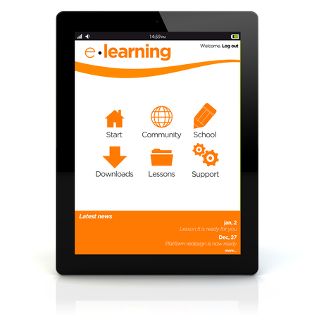 intranet: e-learning concept: render of a tablet pc with online school intranet on the screen. Screen graphics are made up. Stock Photo