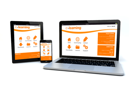 platforms: render of an smartphone, a tablet pc and a computer with a responsive design e-learning platform on the screen