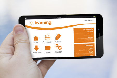 teach: online training concept: hand holding an e-learning 3d generated smartphone. Screen graphics are made up. Stock Photo