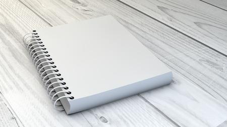 open notebook: digital generated blank notebook over wooden background