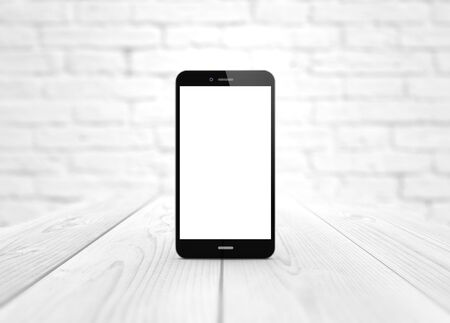 wireless telephone: modern technology and communications concept: digital generated smart phone over wooden table with blank screen.