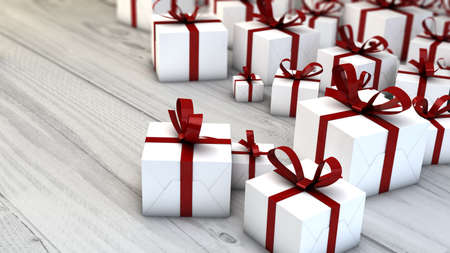 christmas present: gifts render over wooden table with copyspace Stock Photo