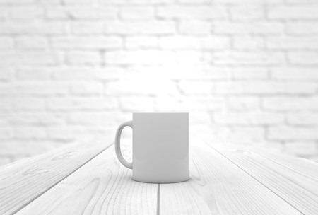 coffee mug on a wooden table with copyspace