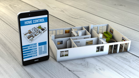 home control app on a digital generated smartphone with a flat mock-up. All screen graphics are made up. Banque d'images