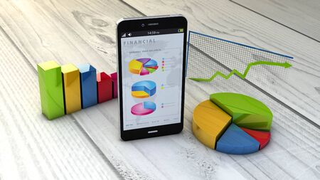 finance report: render of an smartphone  with finances graphics Stock Photo
