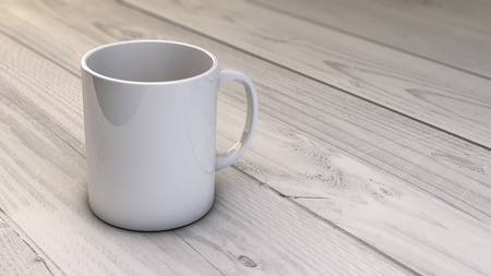 render of a coffee mug with copyspace over wooden table