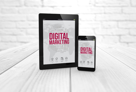 digital tablet: digital generated tablet and smartphone with digital marketing on screen