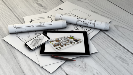 interior design concept: digital generated tablet and smartphone with interior design interface with plots