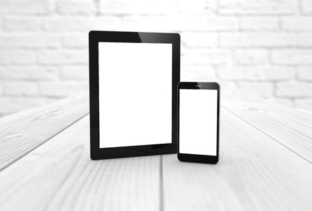 wireless telephone: digital generated mock-up: tablet and smartphone