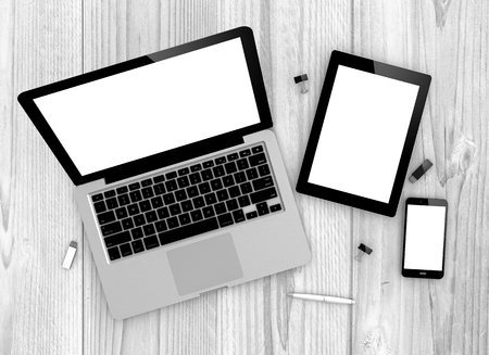 tablet devices: Digital generated devices over a wooden table. laptop, tablet and white smartphone. Stock Photo