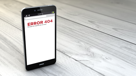 wireless telephone: digital generated  smartphone with error 404 over white wooden background. All screen graphics are made up.