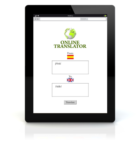 translator: online translation concept: render of a tablet pc with translator app on the screen. Screen graphics are made up. Stock Photo
