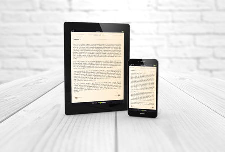 Mobile reading and literature library concept:: digital generated smartphone and tablet computer with book on screen. All screen graphics are made up.