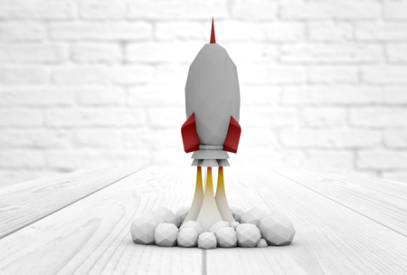 innovating: start up and innovation concept: rocket launch mock up over wooden tablet render Stock Photo