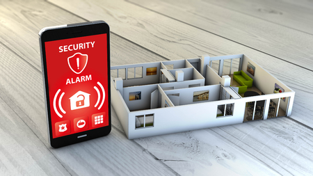 security alarm app on a digital generated smartphone with a flat mock-up. All screen graphics are made up.