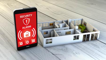 Sicherheitsalarm-App auf einem digitalen erzeugt Smartphone mit einem Flach Mock-up. Alle Bildschirmgrafiken bestehen. Standard-Bild - 45912044
