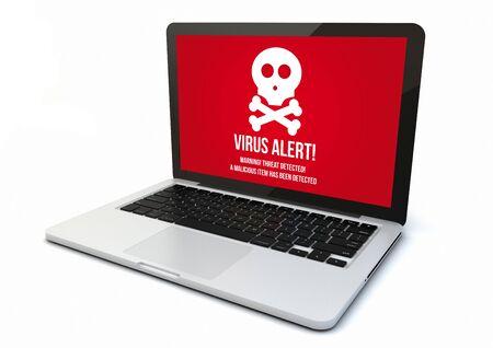 3 d のレンダリングは、コンピューター画面にウイルス警告を生成されます。画面のグラフィックが成っています。